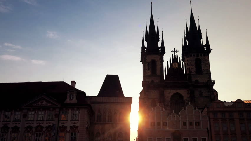 Early morning sunrise at empty Prague Old Town Square, before the first groups of tourists arrive, Church of Our Lady BEfore Tyn.   Shutterstock HD Video #10744259