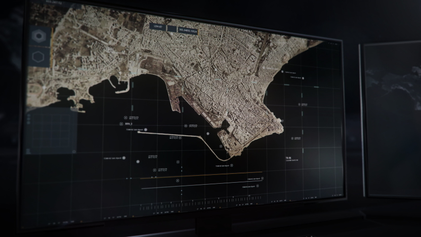 Scanning Latakia Territory Map For Security Purposes In Newest Computer Software. Place Viewed With Satellites Cameras To Ensure Security. Providing Security By Modern Technologies. Advanced Ui. | Shutterstock HD Video #1074453602
