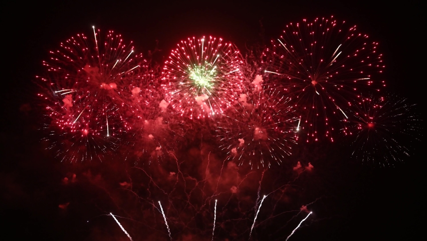 Real Fireworks display celebration with sound audio, Colorful Firework 4K Royalty-Free Stock Footage #1074509897