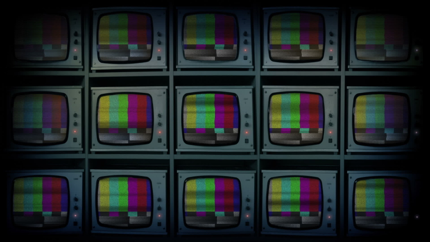 Bank Of TV Screens With Bad Signal Royalty-Free Stock Footage #1074523115