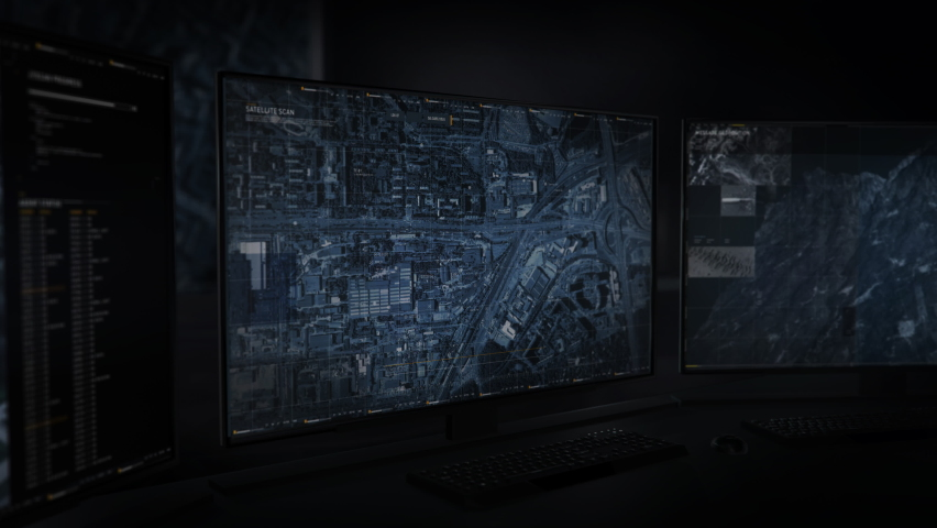 Modern Spying technology. Using newest Technology for Scanning the City in search of the Drug Dealer. Locating the Criminal and Accessing the Drone Camera using the Technology. Computer User Interface | Shutterstock HD Video #1074582341
