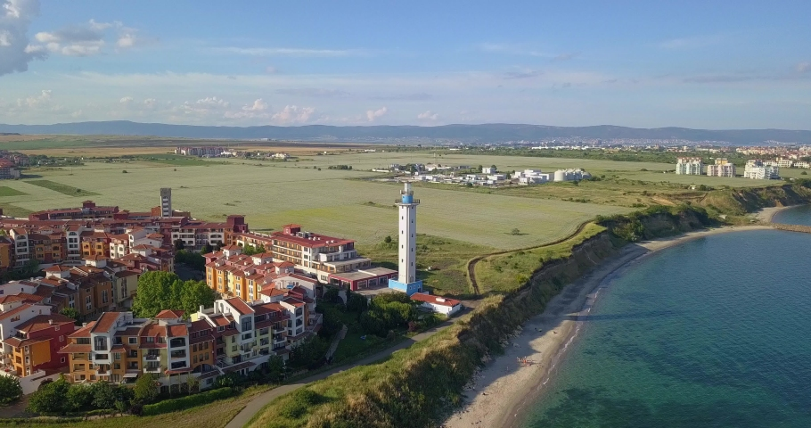 Aerial drone view on the sea resort Aheloy and Lighthouse on the Bulgarian Black Sea coast, Burgas area   Shutterstock HD Video #1074630347