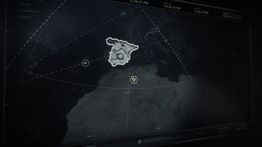 Searching For Satellites Around Spain Area In Newest Computer Software To Hold Surveillance Over Global Potential Threats. Searching Program With Modern Interface. Searching For Information. | Shutterstock HD Video #1074648440