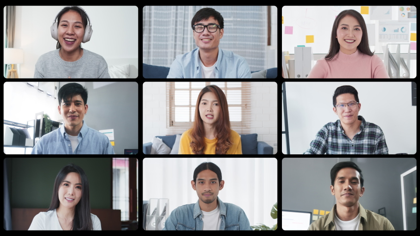 Group of young Asian business people, office coworker on video online conference call, remote team meeting. Work from home, internet communication technology, coronavirus social distancing lifestyle Royalty-Free Stock Footage #1074657437