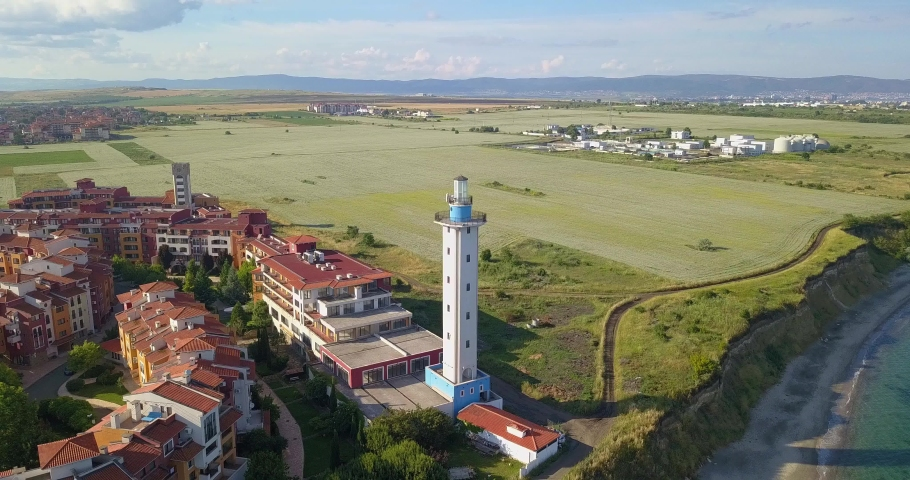 Beautiful Aerial drone view on the sea resort Aheloy and Lighthouse on the Bulgarian Black Sea coast, Burgas rural area   Shutterstock HD Video #1074658760