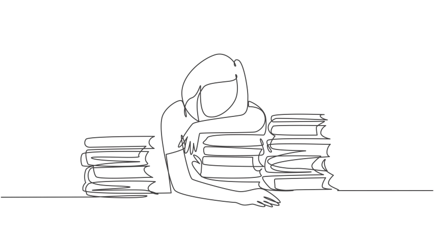 Self drawing animation of one single line draw young bored female college student fall asleep on pile of books while studying at library. Learning concept. Continuous line draw. Full length animated.