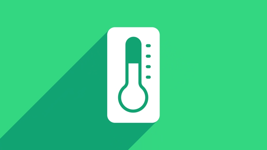 White Medical thermometer for medical examination icon isolated on green background. 4K Video motion graphic animation .   Shutterstock HD Video #1074707999