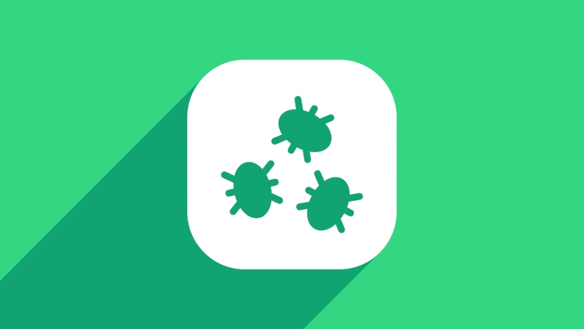 White Bacteria icon isolated on green background. Bacteria and germs, microorganism disease causing, cell cancer, microbe, virus, fungi. 4K Video motion graphic animation .   Shutterstock HD Video #1074708203