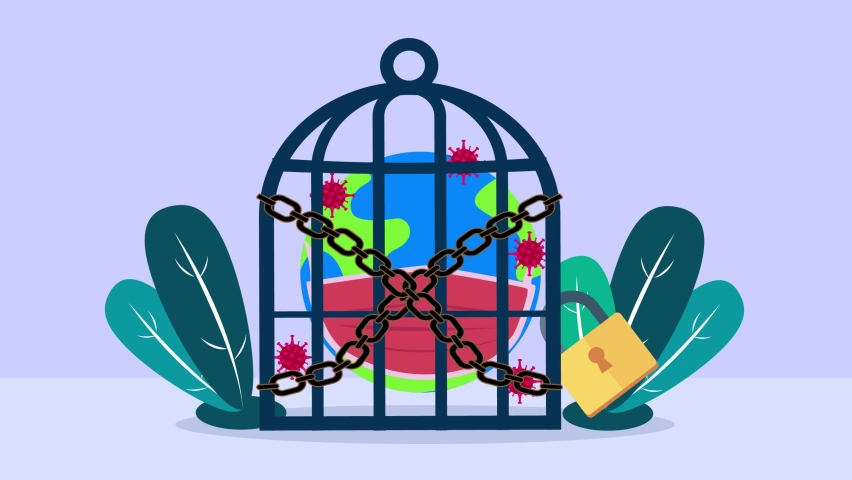 Globe animation wearing face mask while locked in a cage with Coronavirus pandemic. Cartoon in 4k resolution   Shutterstock HD Video #1074711542