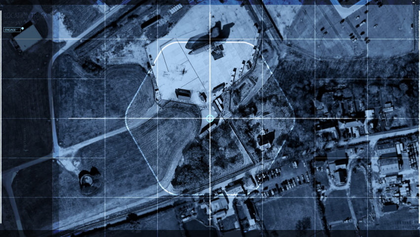 Using the newest spy technology to find the Rival Army Forces. Spy technology streaming drone footage Analysis of the Area. Spy technology has located the Huge Aircraft at the Military Base. UI. | Shutterstock HD Video #1074712463