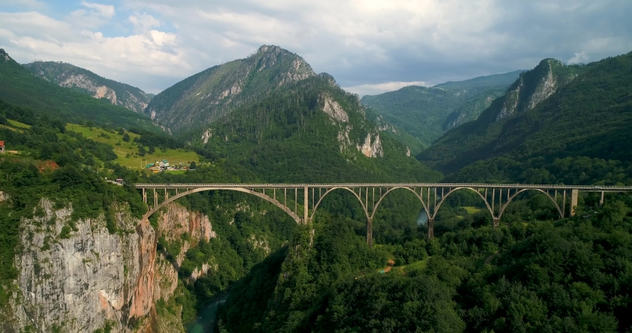 Bridge in the Park in Montenegro aerial view