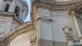 The Cadiz Cathedral is a traditional Spanish architecture with baroque Italian forms. 4k cadiz cathedral close up video. neoclassical style