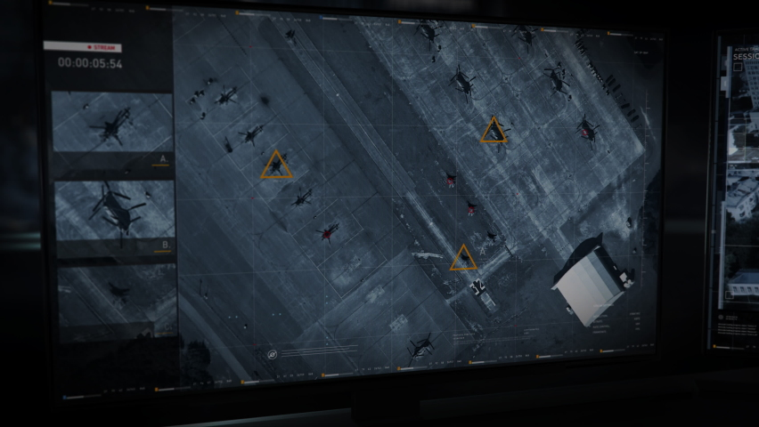 The Newest Army Software is Used for Geopositional Analysis. The Army is Searching for the Location of the Enemy. The Army has Accessed the Satellite Footage of the Air Base. Monitors. User Interface.   Shutterstock HD Video #1074963392