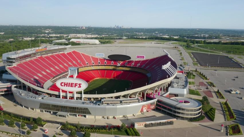 Kansas City , Missouri , United States - 06 13 2021: Smooth Drone Shot Above Arrowhead Stadium, Home of the Kansas City Chiefs. Motion Blur