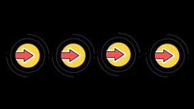 Direction Arrow Symbol Pointing on Black Background Animation 4K Stock Footage.