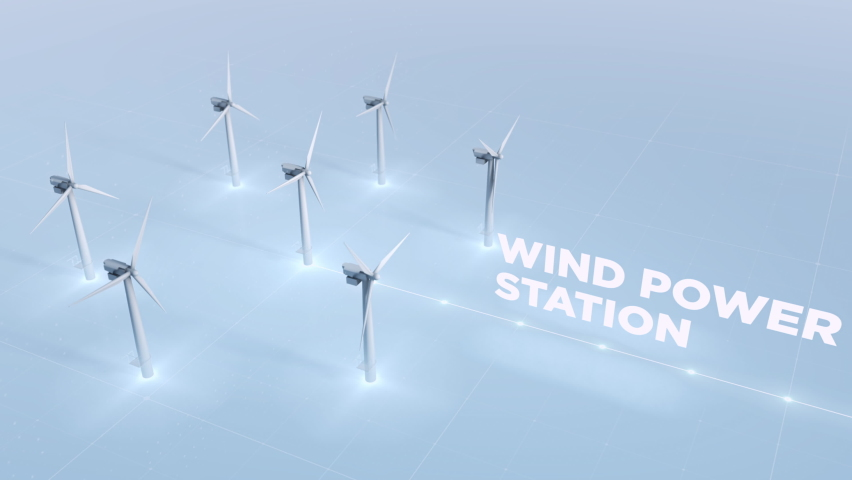 Wind Power is Produced by Multiple Wind Turbines. Newest Wind Power Station is providing the source of Electricity to Help the Environment. Wind Power is converted through the Generator. Sustainable.   Shutterstock HD Video #1075111481