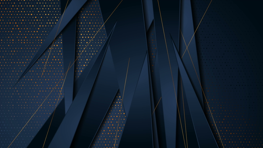 Dark blue and golden abstract tech geometric motion background. Luxury glitter dots corporate design. Seamless looping. Video animation Ultra HD 4K 3840x2160 | Shutterstock HD Video #1075111493