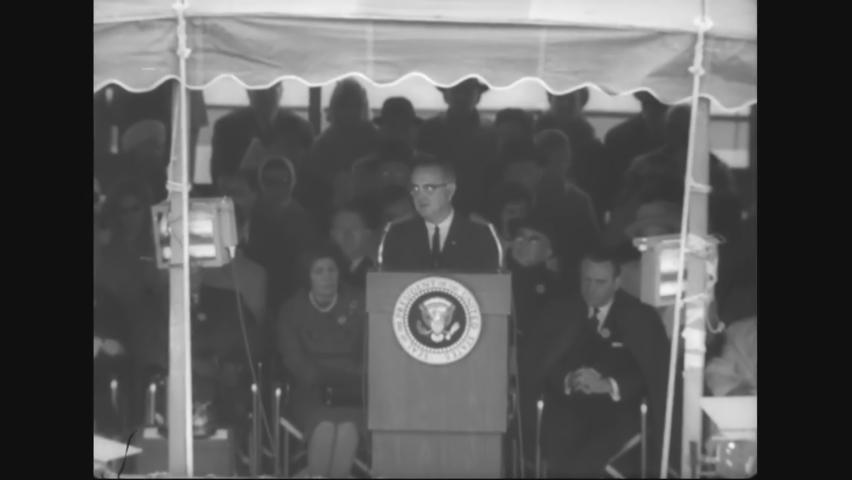 CIRCA 1964 - LBJ gives the dedicatory speech at the New York World's Fair.