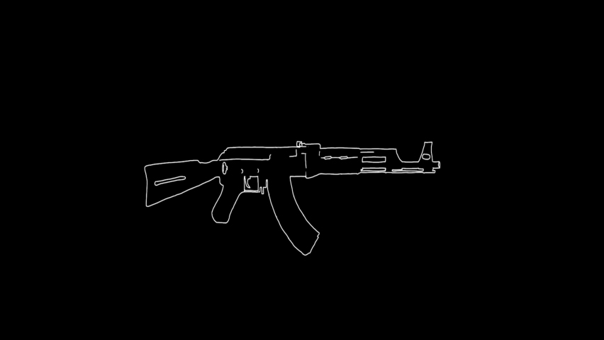 Doodle hand drawing black screen with theme of gun