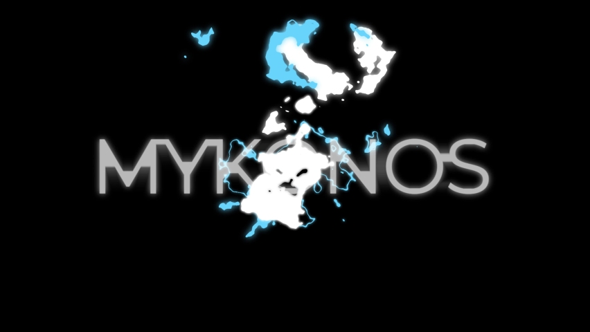 MYKONOS word intro 4K animation on Black Background - Animated Popular - Famous Island Title - Mykonos Island word Glitch Style ( 12 different styles ) Mykonos lettering Glitchy lettering   Shutterstock HD Video #1075372532