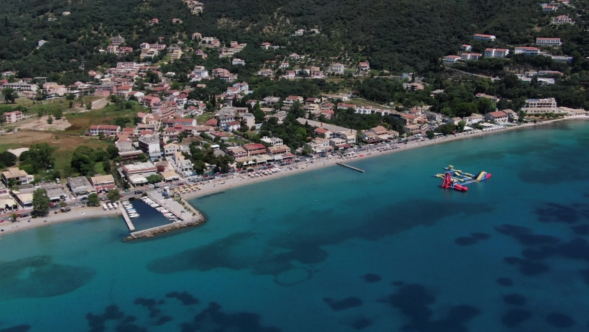 Beautiful beach in Ipsos on Corfu Greece   Shutterstock HD Video #1075414685