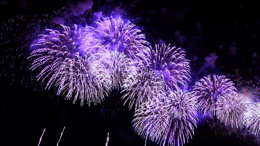 4K. long time seamless loop of real colorful fireworks festival in the sky display at night during national holiday, new year party or celebration event Royalty-Free Stock Footage #1075461071