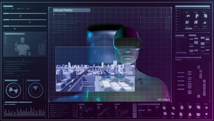 Artificial intelligence robot to control the city wearing virtual reality glasses in user interface background. Augmented reality Future technology, 4k animation. Royalty-Free Stock Footage #1075603667