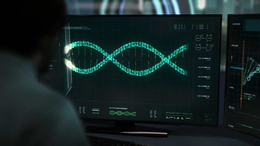 Newest Laboratory technology is helping with chromosome scientific research. Chromosome scientific research is scanning through the DNA Helix. Chromosome Scientific Research User Interface. Close-up.   Shutterstock HD Video #1075735295
