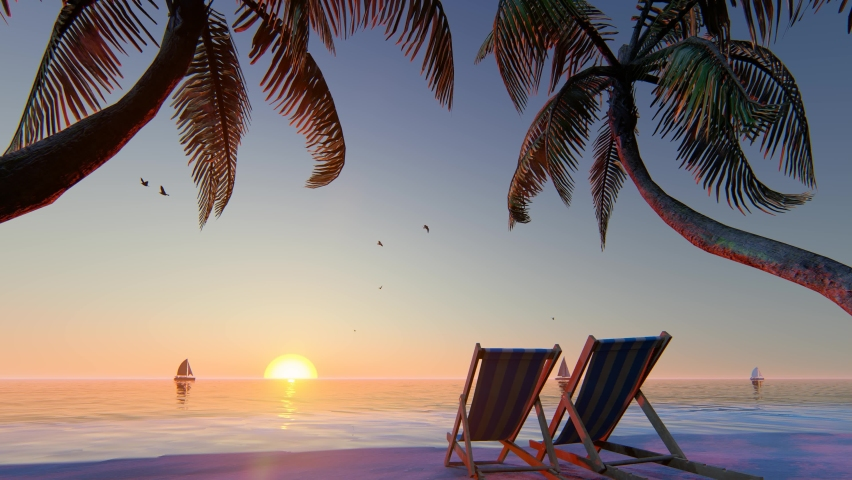 Blue ocean white sand beach nature tropical palms and sunset sky. Caribbean sea and sky. Small wild beach chairs. landscape Island. Palms turquoise sea background Atlantic ocean. 3D Rendering.    Shutterstock HD Video #1075753370