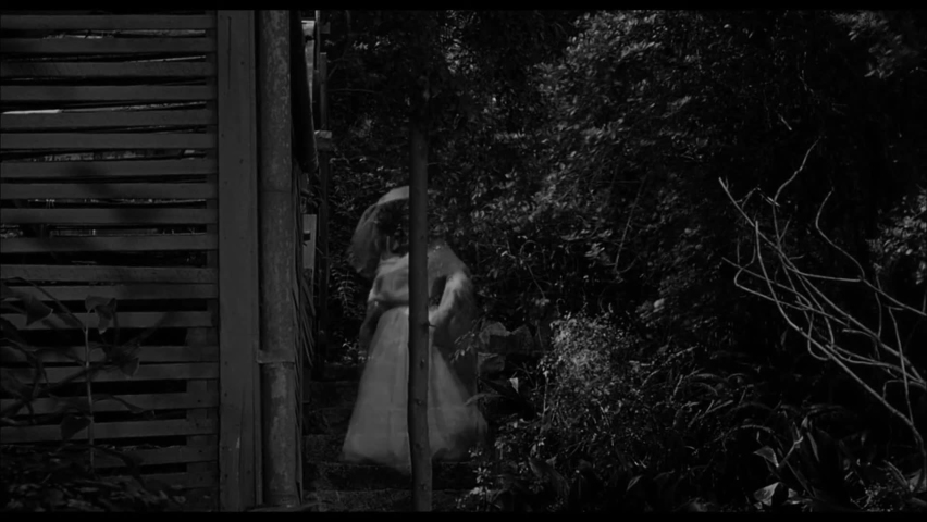 CIRCA 1958 - In this horror film, a woman is chased by an aristocratic female ghost through her estate.