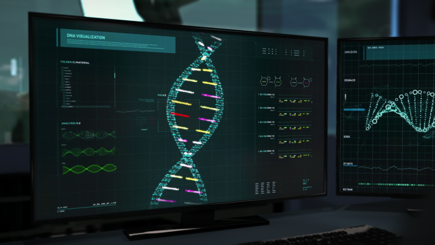 Screen Displaying Newest Medical Program Holding Study Of Virus DNA. Study Of Virus DNA To Create Vaccine At Scientific Laboratory. Modern Research.   Shutterstock HD Video #1075806065