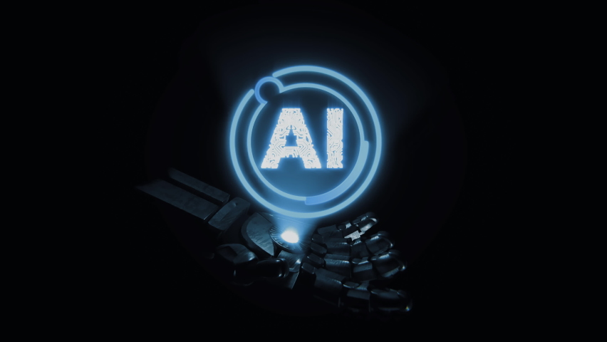 Close-up Artificial Intelligence Concept: Robot hand projectiong AI hologram Royalty-Free Stock Footage #1075831586