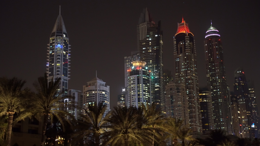 View of night high-rise buildings in dubai