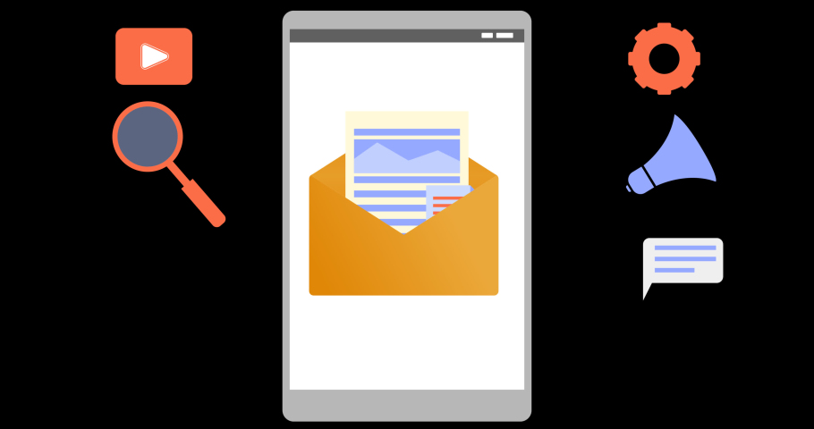 Email marketing animations; email envelope that opens and release engaging content in smart phone with marketing icon, animated videos with a flat concept. good for motion graphics, presentations etc. Royalty-Free Stock Footage #1075913819