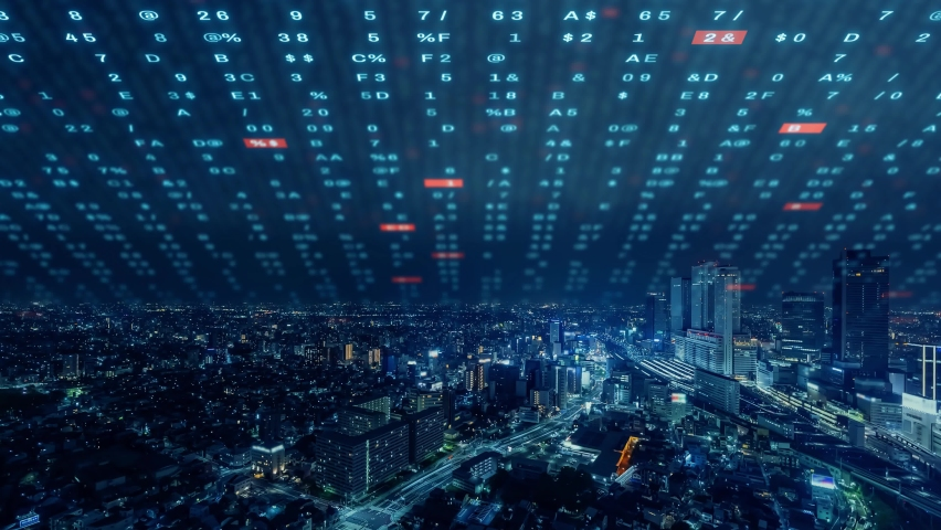 Smart city and communication network concept. Digital transformation. Royalty-Free Stock Footage #1075928642