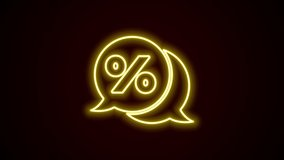 Glowing neon line Discount percent tag icon isolated on black background. Shopping tag sign. Special offer sign. Discount coupons symbol. 4K Video motion graphic animation.