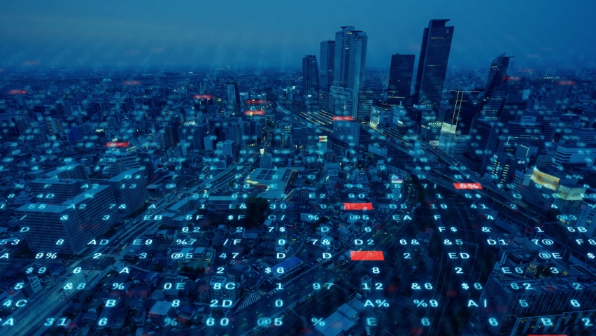 Smart city and communication network concept. Digital transformation. Royalty-Free Stock Footage #1075981964