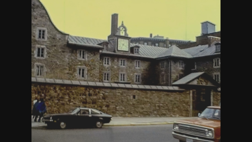 NEW YORK, USA 05 NOVEMBER 1975: New York streets view in the mid 70's, vintage footage digitalized in 4k