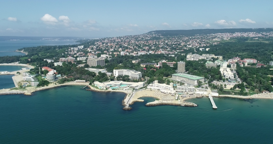 Aerial view of Saints Constantine and Helena, resort town on the Bulgarian Black Sea coast, near Varna   Shutterstock HD Video #1076036609