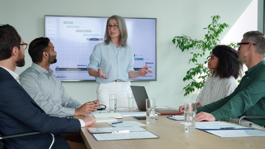 Older senior female mentor leader manager talking to executive team diverse group at boardroom meeting. Multicultural professional business people discuss project plan and financial results in office Royalty-Free Stock Footage #1076059676