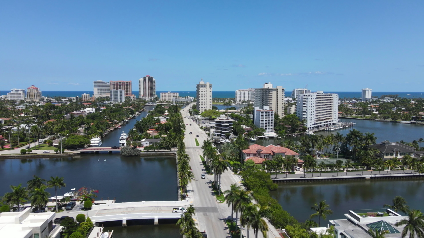 Fort Lauderdale Cityscape Skyline, Aerial View of Canals by Las Olas Boulevard, Beachfront Buildings on Sunny Day, Establishing Drone Shot, Florida USA   Shutterstock HD Video #1076169068