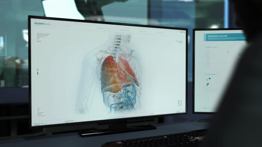 A Doctor is Supervising the Analysis of the Patient that was infected with the virus. Searching for Virus traces in the Lungs. Looking for treatment for the newest stamm of the Virus. User Interface.   Shutterstock HD Video #1076254079