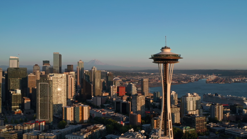 Seattle, WA  USA - July 18, 2021: Seattle city view featuring Space Needle, MT Rainier and Elliott Bay