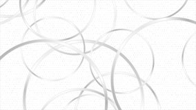 Grey silver glossy circles abstract tech geometric motion background. Seamless looping. Video animation Ultra HD 4K 3840x2160
