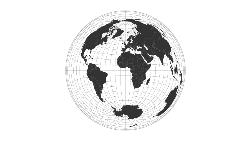 World map. Lambert azimuthal equal-area projection. Animated projection. Loopable video.
