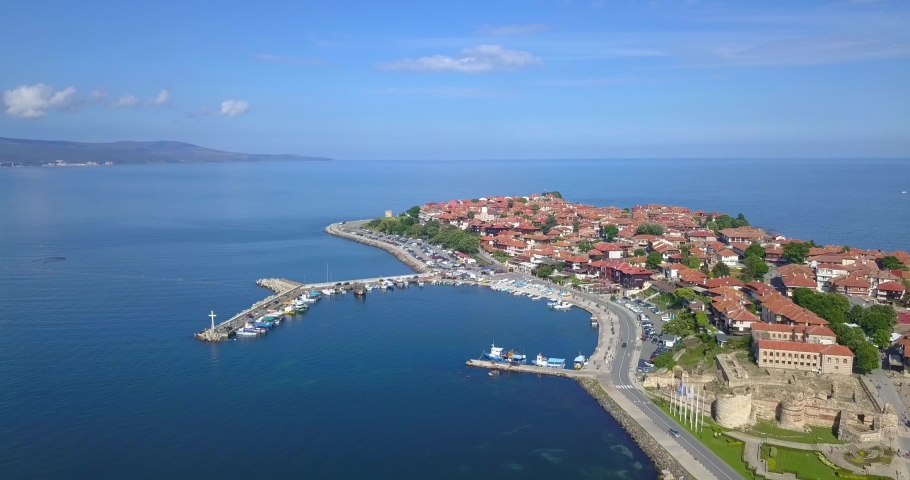 Aerial drone view of the ancient town of Nessebar located by the Black Sea coast in Bulgaria.