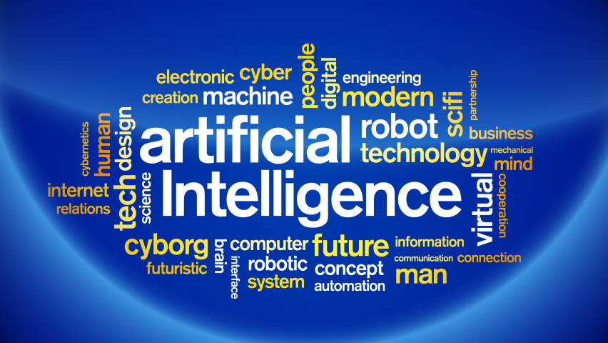 4k Artificial Intelligence Animated Tag AI Word Cloud,Text Design Animation.    Shutterstock HD Video #1076671361