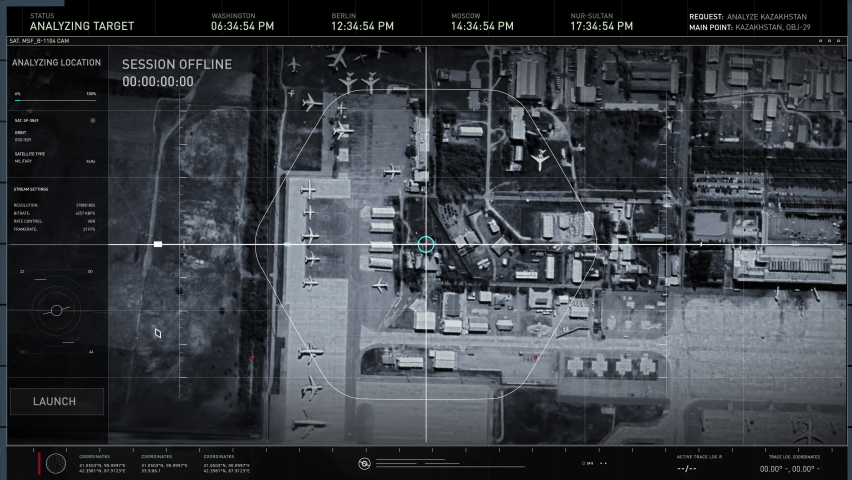Data Analysis By Artificial Intelligence In Newest Military Spy System. Data Analysis Of Air Base In Kazakhstan. Satellites Provide Information. Data Analysis In Surveillance Computer Software.   Shutterstock HD Video #1076682200