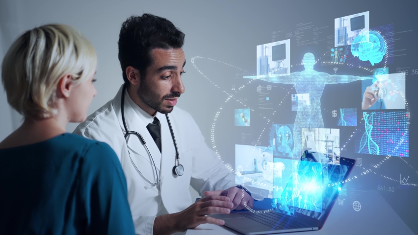Medical technology concept. Remote medicine. Electronic medical record. Royalty-Free Stock Footage #1076688692