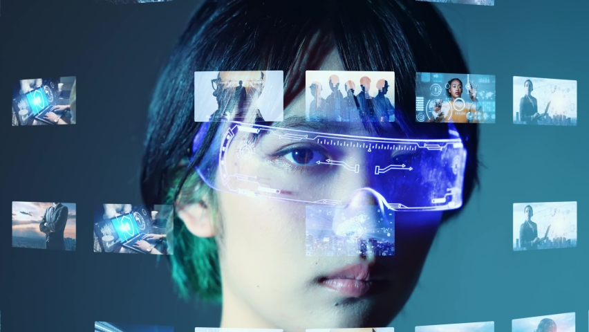 Young asian woman wearing VR goggles. Virtual reality. Digital contents. Royalty-Free Stock Footage #1076696789